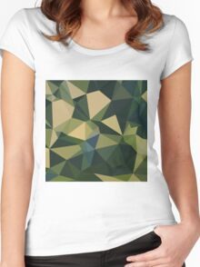 English Green Abstract Low Polygon Background Women's Fitted Scoop T-Shirt