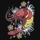 Shrimp Roll - Japanese Style Tattoo Shrimp w/ Rainbow Roll Sushi by karbondream