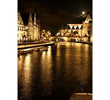 Ghent by Night - Ghent, Belgium Photographic Print
