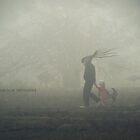 Small fish-girl & octopus-men go through the fog by Iuliia Dumnova