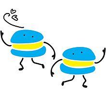 Funny dancing macarons Photographic Print