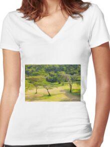 Masai Lodge Park, KENYA Women's Fitted V-Neck T-Shirt