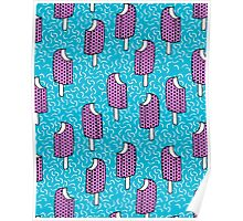 Bite Me - popsicle throwback 80s style memphis dots pattern trendy hipster summer ice cream Poster