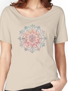 Autumn Spice Mandala in Coral, Cream and Rose Women's Relaxed Fit T-Shirt