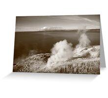 Yellowstone Lake and Geysers Greeting Card