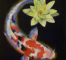Koi with Yellow Water Lily by Michael Creese