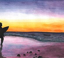 Surfing At Sunset by Christa57
