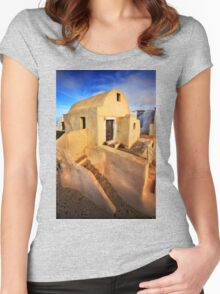 On top of Pyrgos village, Santorini island Women's Fitted Scoop T-Shirt