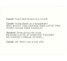 Castle and Beckett - How to find Beckett Art Print