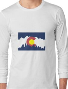 Colorado Skyline and Mountains Long Sleeve T-Shirt