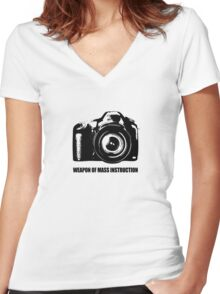 weapon of mass instruction Women's Fitted V-Neck T-Shirt