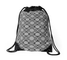 Eastern Elegance in Black and White Drawstring Bag