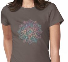 Winter Sunset Mandala in Charcoal, Mint and Melon Womens Fitted T-Shirt