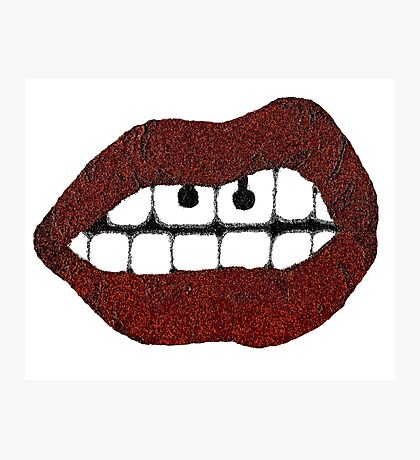 Glitter Red Lips with Piercing Photographic Print