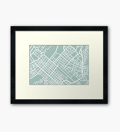 Minimal Maps (Green) - Cape Town S.A. Framed Print