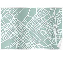 Minimal Maps (Green) - Cape Town S.A. Poster
