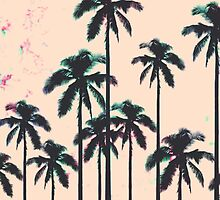 Neon Lined Black Palm Trees on Peach Horizon by Blkstrawberry
