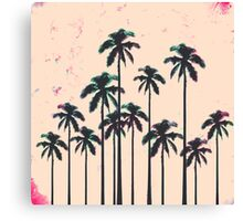 Neon Lined Black Palm Trees on Peach Horizon Canvas Print