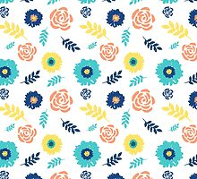 Colorful floral pattern blue coral yellow by dreamingmind