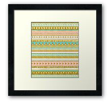Gold peach turquoise tribal pattern Framed Print