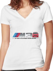 BMW E30 M3 30th Anniversary (Red Sport Evo) Black Text 2 Women's Fitted V-Neck T-Shirt