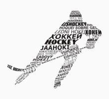 Typographic Hockey Player Languages   Kids Tee
