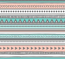 Grey peach teal Tribal by dreamingmind
