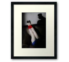 red, blue, and white Framed Print