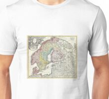 Old map of Scandinavia Unisex T-Shirt