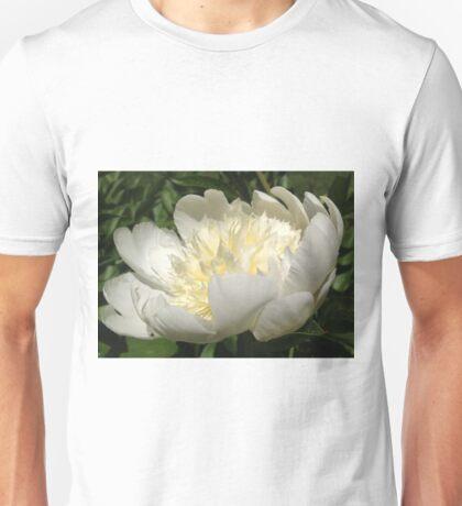 White Peony Flower Unisex T-Shirt