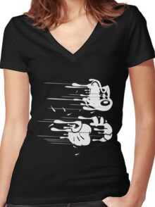 FLYING MOUSE Women's Fitted V-Neck T-Shirt