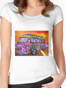 Pink Hippie Volkswagon Bus LUV Women's Fitted Scoop T-Shirt