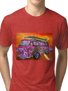 Pink Hippie Volkswagon Bus LUV Tri-blend T-Shirt