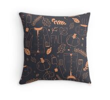 Sweater Weather in Navy and Coral Throw Pillow