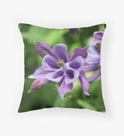 Purple Summer Columbine Throw Pillow