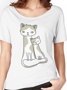 Sleepy Kitten - Grey and White Women's Relaxed Fit T-Shirt