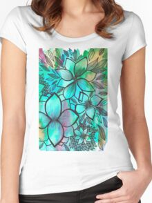 Turquoise - whimsical garden  Women's Fitted Scoop T-Shirt
