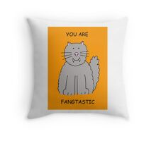 You are Fangtastic, romantic cat with fangs. Throw Pillow