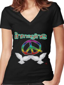 PEACE / IMAGINE Women's Fitted V-Neck T-Shirt