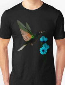 Green Hummingbird-Blue Flowers Unisex T-Shirt