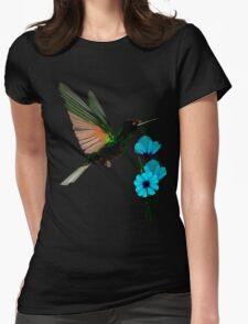 Green Hummingbird-Blue Flowers Womens Fitted T-Shirt