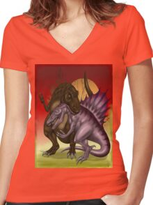 Dinos  Women's Fitted V-Neck T-Shirt