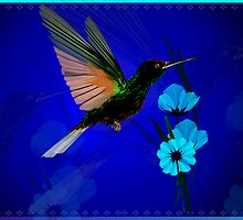 Green Hummingbird-Blue Flowers by Lotacats