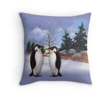 Two Penguins in Snowy Landscape, Whimsical Art Throw Pillow
