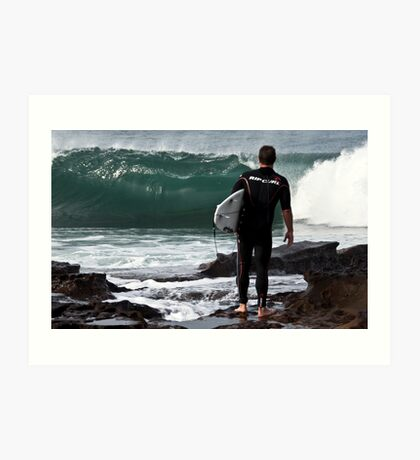 checking the surf Art Print