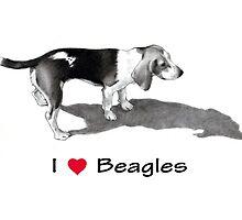 I Love (Heart) Beagles: Pencil Drawing, Dog by Joyce Geleynse