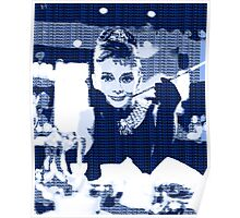 Audrey Hepburn Breakfast at Tiffany's Blue  Poster