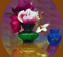 Spring Blossoms in a Green Vase by suzannem73