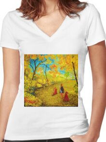 to the beach Women's Fitted V-Neck T-Shirt
