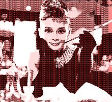 Audrey Hepburn Breakfast at Tiffany's Red  by yin888